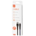Cable 2E USB 2.0 MicroUSB Flat Fabric 1m Black/Blue