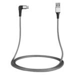 Кабель 2E USB 2.0 USB MicroUSB Flat Fabric Right Angle 1m Grey