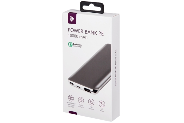 Power Bank 2E 10000 mAh Grey Quick Charge