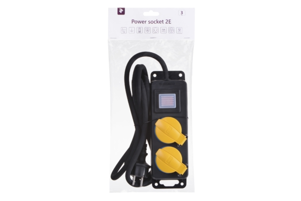 Surge protector 2E with 2 sockets and a switch, IP44, 3G1.5, 3m, black