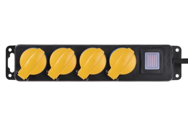 Сетевой фильтр 2Е на 4 розетки с выключателем, IP44, 3G1.5, 3м, черный