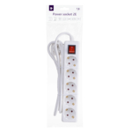 Surge protector 2E with 5 sockets and a switch 3G1.5, 1.8m, white
