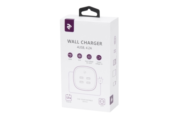 Мережевий ЗП 2E Wall Charger 4USB, 4.2A White