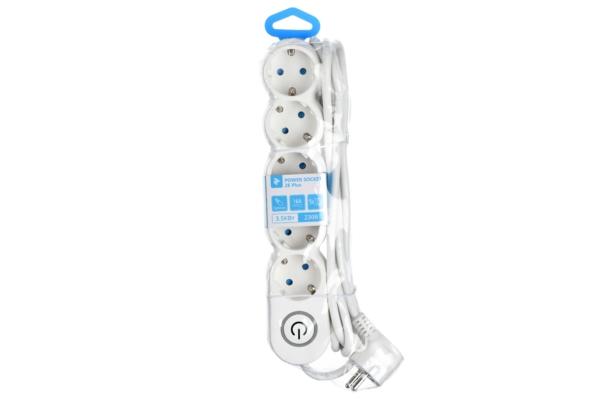 Мережевий фільтр 2Е на 5 розеток з вимикачем 3G1.0, 3м, білий