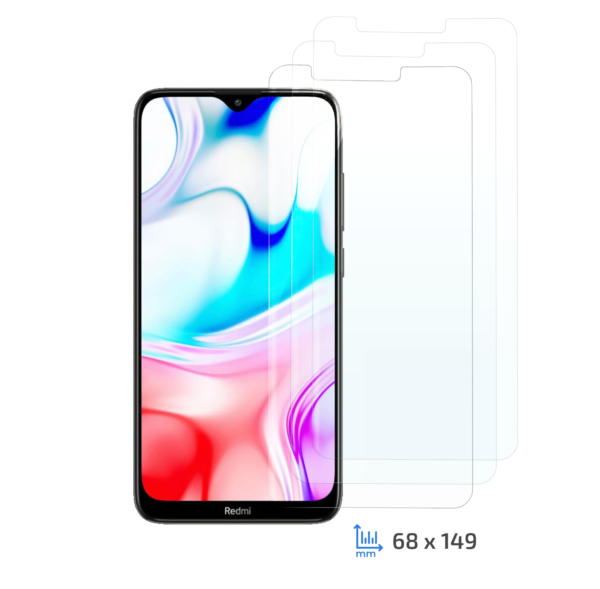2E 3 in 1 Protective glass set for Xiaomi Redmi 8/8A, 2.5D, Clear