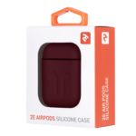 2E earphone case for Apple AirPods, Pure Color Silicone Imprint (1.5mm), Marsala