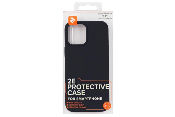 Чохол 2Е для Apple iPhone 12 (6.1″), Liquid Silicone, Black