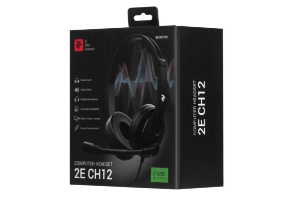 Гарнітура для ПК 2E CH12 3.5mm/2×3.5mm Black