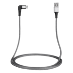 Кабель 2E USB 2.0 USB MicroUSB Flat Fabric Right Angle 1m Grey