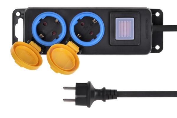 Мережевий фільтр 2Е на 2 розетки з вимикачем, IP44, 3G1.5, 3м, чорний