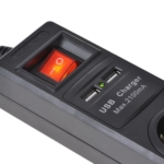 Сетевой фильтр 2Е на 3 розетки с выключателем, 2хUSB, 3G1.5, 1.8м, черный