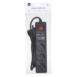 Surge protector 2Е with 3 sockets and a switch, 2хUSB, 3G1.5, 1.8m, black