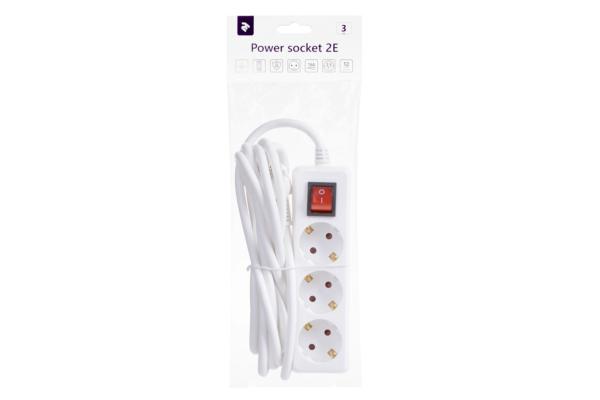 Сетевой фильтр 2Е на 3 розетки с выключателем 3G1.5, 3м, белый