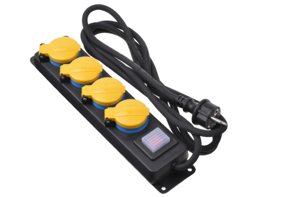 Surge protector 2E with 4 sockets and a switch, IP44, 3G1.5, 3m, black