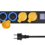 Мережевий фільтр 2Е на 4 розетки з вимикачем, IP44, 3G1.5, 3м, чорний