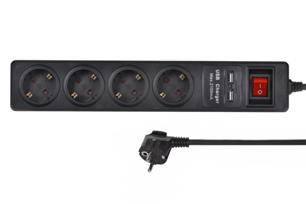 Surge protector 2E with 4 sockets and a switch, 2хUSB, 3G1.5, 1.8m, black