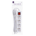 Surge protector 2Е with 4 sockets and a switch 3G1.5, 3m, white