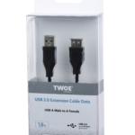 Кабель 2E USB 2.0 (AM/AF) 1.8м, Black
