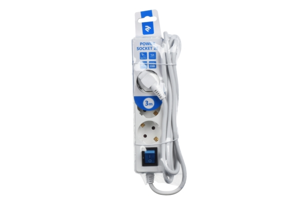 Surge Protector 2E with 4 sockets and a switch 3G1.0, 3m, white
