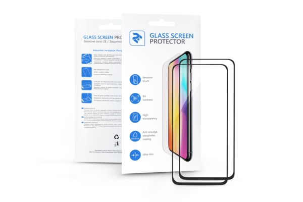Комплект 2 в 1 Захисне скло 2E Basic для Samsung Galaxy A80/A90, FCFG, Black