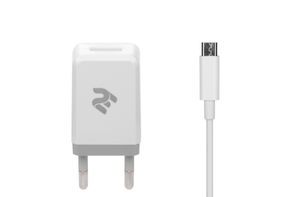 Сетевое ЗУ USB Wall Charger+кабель MicroUSB, White