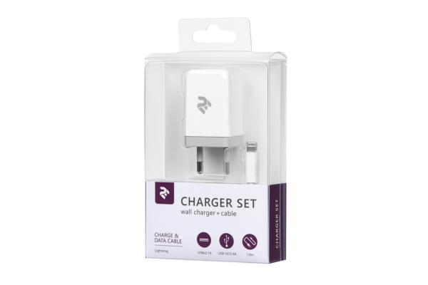 Мережевий ЗП USB Wall Charger+кабель Lightning, White