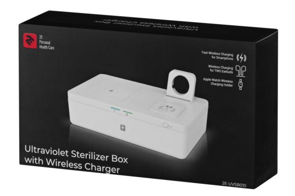 Ультрафіолетовий стерилізатор з бездротовою зарядкою 2E UVSB010, Qi