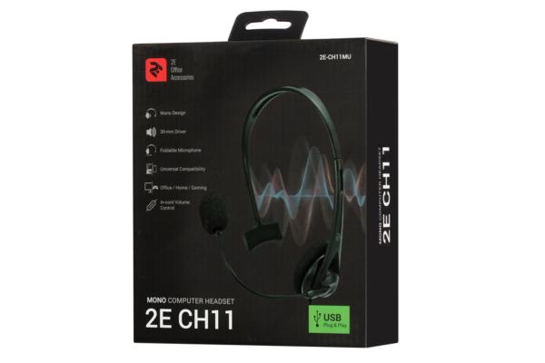 Гарнітура для ПК 2E CH11 Mono USB Black