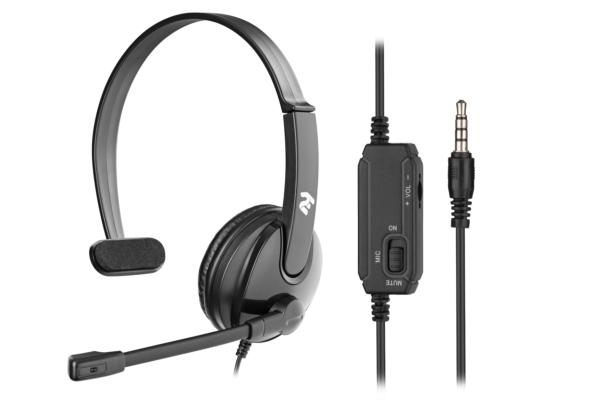 Гарнітура для ПК 2E CH12 Mono On-Ear 3.5mm/2×3.5mm Black