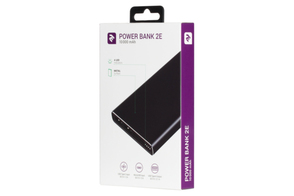 Power Bank 2Е 10000 мАг Metal surface Black